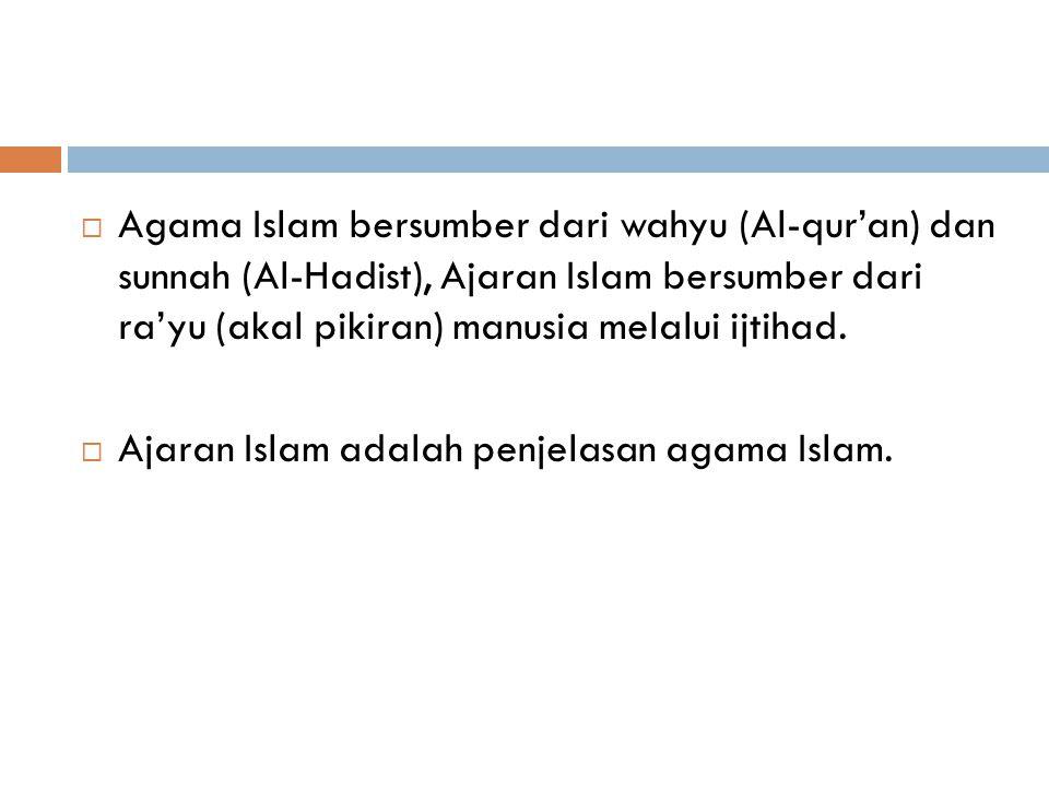 Islam  Hukum Islam tidak bisa dipisahkan dari Islam sebagai Agama  Islam (Kt Benda) berasal dari kata kerja Salima yang berarti Kedamaian, kesejahteraan, keselamatan, penyerahan (diri) dan kepatuhan  Muslim adalah orang yang melalui penggunaan akal dan kebebasannya menerima dan mematuhi kehendak atau petunjuk Allah