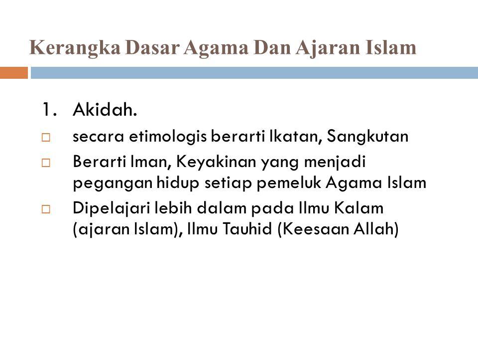  Kerangka dasar agama Islam yaitu: 1) Akidah, 2) Syariah dan 3) Akhlak  Pada komponen syariah dan akhlak ruang lingkupnya jelas mengenai ibadah, muamalah dan sikap terhadap Khalik (Allah) serta makhluk.