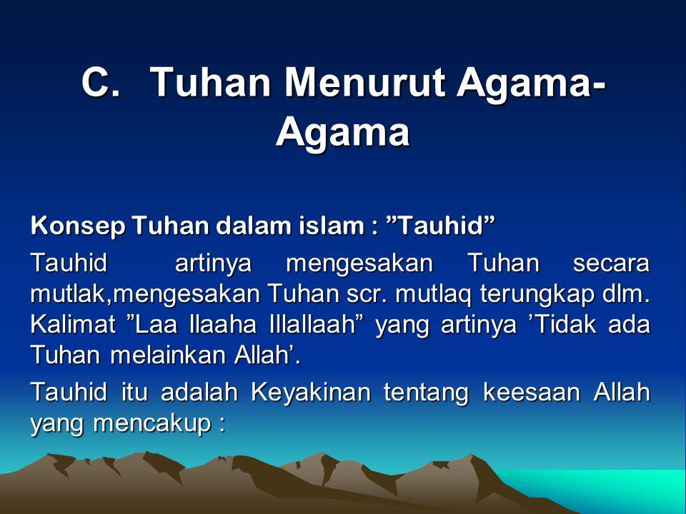 """C.Tuhan Menurut Agama- Agama Konsep Tuhan dalam islam : """"Tauhid"""" Tauhid artinya mengesakan Tuhan secara mutlak,mengesakan Tuhan scr. mutlaq terungkap"""