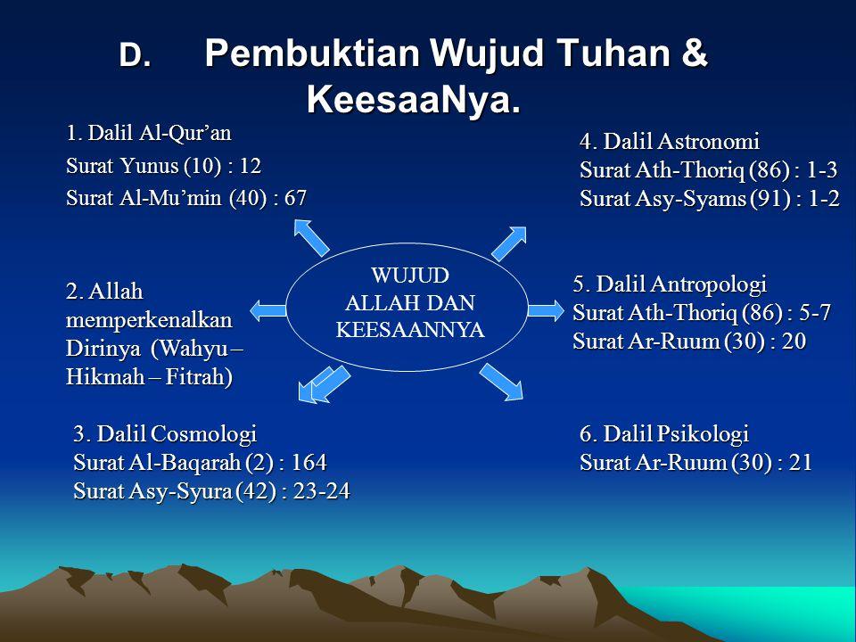 D. Pembuktian Wujud Tuhan & KeesaaNya. 1. Dalil Al-Qur'an Surat Yunus (10) : 12 Surat Al-Mu'min (40) : 67 6. Dalil Psikologi Surat Ar-Ruum (30) : 21 5