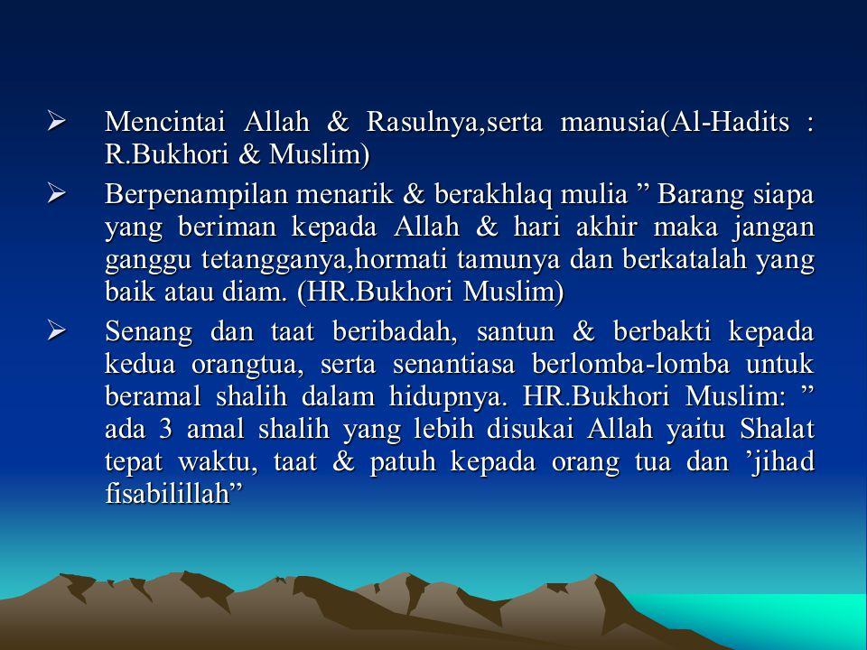 " Mencintai Allah & Rasulnya,serta manusia(Al-Hadits : R.Bukhori & Muslim)  Berpenampilan menarik & berakhlaq mulia "" Barang siapa yang beriman kepad"