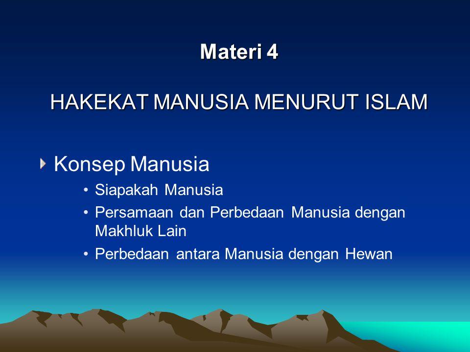 Materi 4 HAKEKAT MANUSIA MENURUT ISLAM Konsep Manusia Siapakah Manusia Persamaan dan Perbedaan Manusia dengan Makhluk Lain Perbedaan antara Manusia de