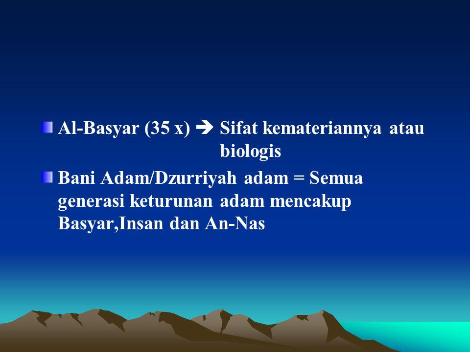 Al-Basyar (35 x)  Sifat kemateriannya atau biologis Bani Adam/Dzurriyah adam = Semua generasi keturunan adam mencakup Basyar,Insan dan An-Nas