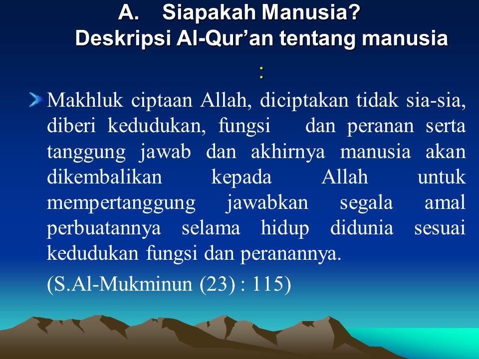 A.Siapakah Manusia? Deskripsi Al-Qur'an tentang manusia : Makhluk ciptaan Allah, diciptakan tidak sia-sia, diberi kedudukan, fungsi dan peranan serta