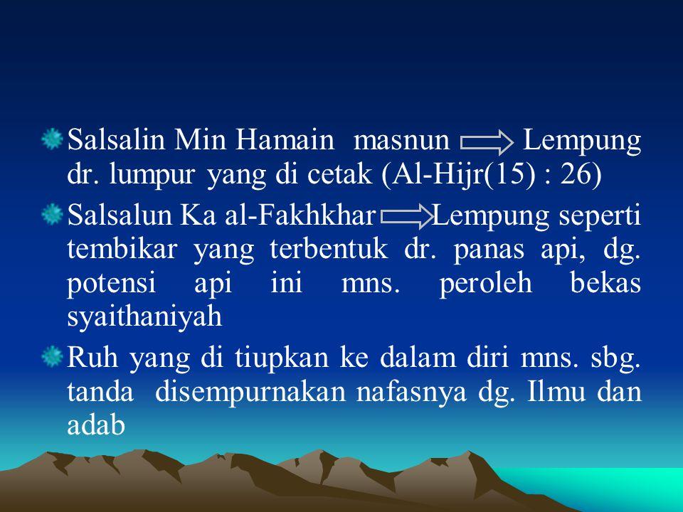 Salsalin Min Hamain masnun Lempung dr. lumpur yang di cetak (Al-Hijr(15) : 26) Salsalun Ka al-Fakhkhar Lempung seperti tembikar yang terbentuk dr. pan