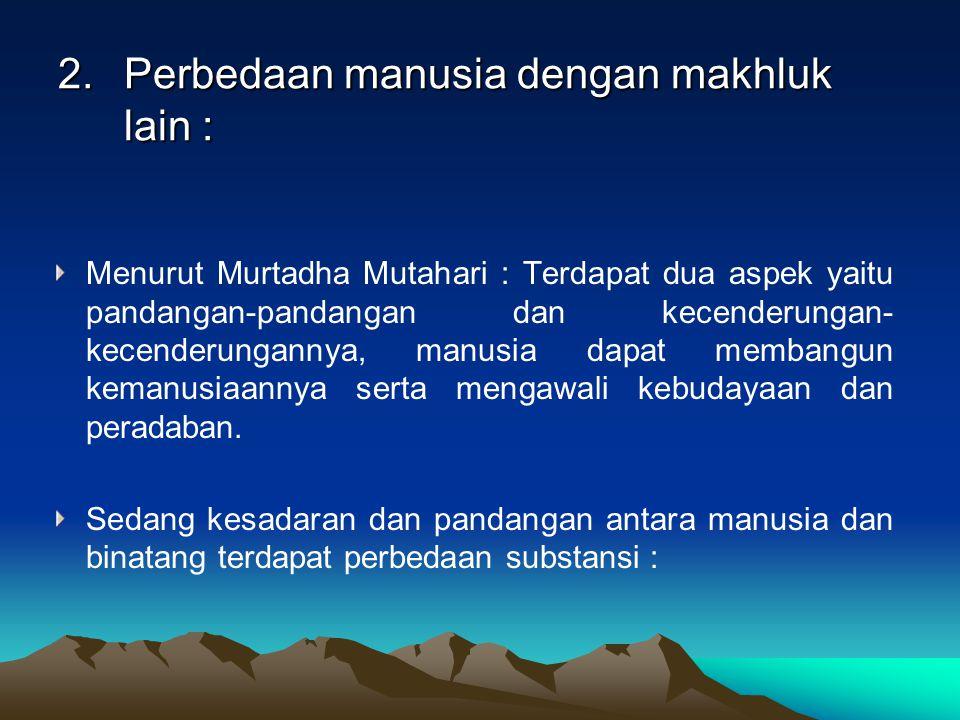 2.Perbedaan manusia dengan makhluk lain : Menurut Murtadha Mutahari : Terdapat dua aspek yaitu pandangan-pandangan dan kecenderungan- kecenderungannya