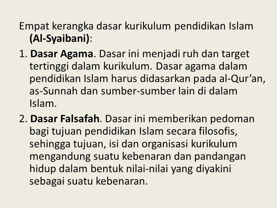 Empat kerangka dasar kurikulum pendidikan Islam (Al-Syaibani): 1. Dasar Agama. Dasar ini menjadi ruh dan target tertinggi dalam kurikulum. Dasar agama