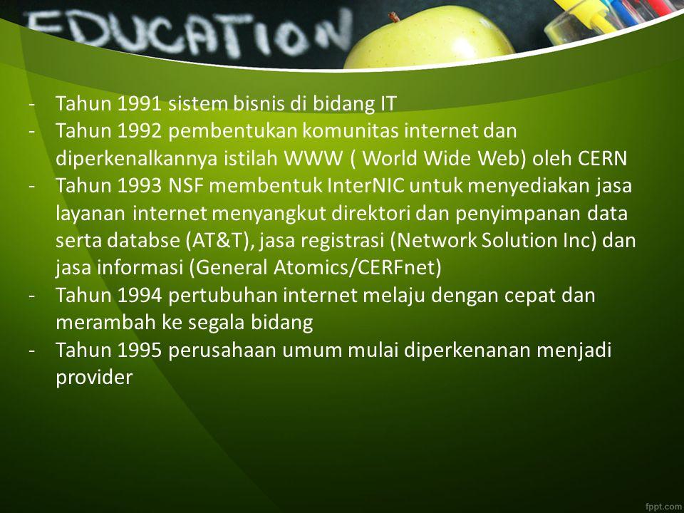 -T-Tahun 1991 sistem bisnis di bidang IT -T-Tahun 1992 pembentukan komunitas internet dan diperkenalkannya istilah WWW ( World Wide Web) oleh CERN -T-Tahun 1993 NSF membentuk InterNIC untuk menyediakan jasa layanan internet menyangkut direktori dan penyimpanan data serta databse (AT&T), jasa registrasi (Network Solution Inc) dan jasa informasi (General Atomics/CERFnet) -T-Tahun 1994 pertubuhan internet melaju dengan cepat dan merambah ke segala bidang -T-Tahun 1995 perusahaan umum mulai diperkenanan menjadi provider
