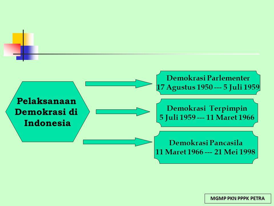 Pelaksanaan Demokrasi di Indonesia Demokrasi Parlementer 17 Agustus 1950 --- 5 Juli 1959 Demokrasi Terpimpin 5 Juli 1959 --- 11 Maret 1966 Demokrasi P