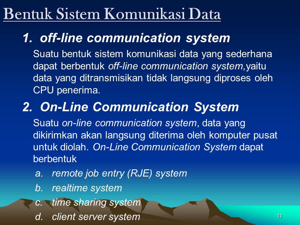 11 Bentuk Sistem Komunikasi Data 1. off-line communication system Suatu bentuk sistem komunikasi data yang sederhana dapat berbentuk off-line communic