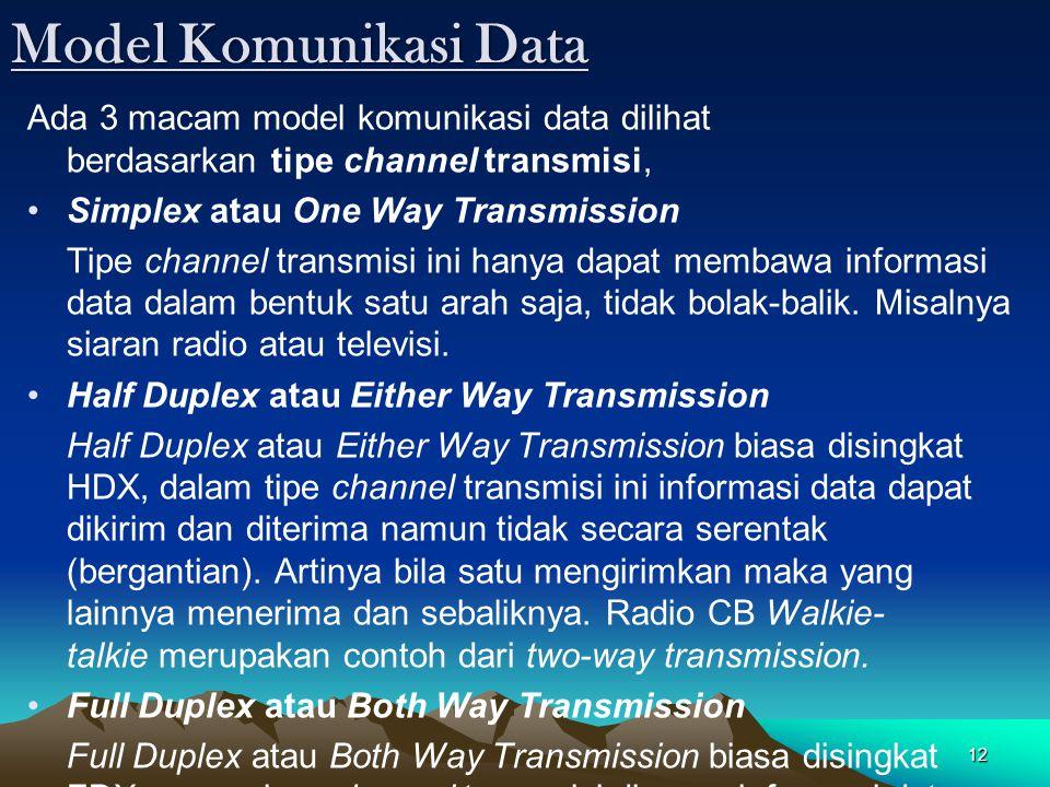 12 Model Komunikasi Data Ada 3 macam model komunikasi data dilihat berdasarkan tipe channel transmisi, Simplex atau One Way Transmission Tipe channel