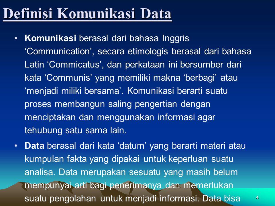 5 Definisi Komunikasi Data (cont'd) Komunikasi data adalah proses pengiriman dan penerimaan data secara elektronik dari dua atau lebih alat yang terhubung kedalam sebuah jaringan (network) melalui suatu media.
