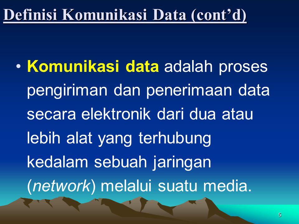 5 Definisi Komunikasi Data (cont'd) Komunikasi data adalah proses pengiriman dan penerimaan data secara elektronik dari dua atau lebih alat yang terhu