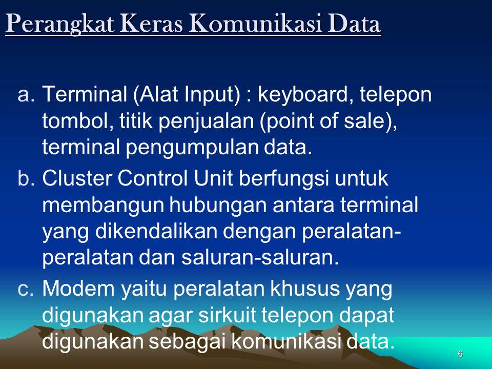 6 Perangkat Keras Komunikasi Data a.Terminal (Alat Input) : keyboard, telepon tombol, titik penjualan (point of sale), terminal pengumpulan data. b.Cl