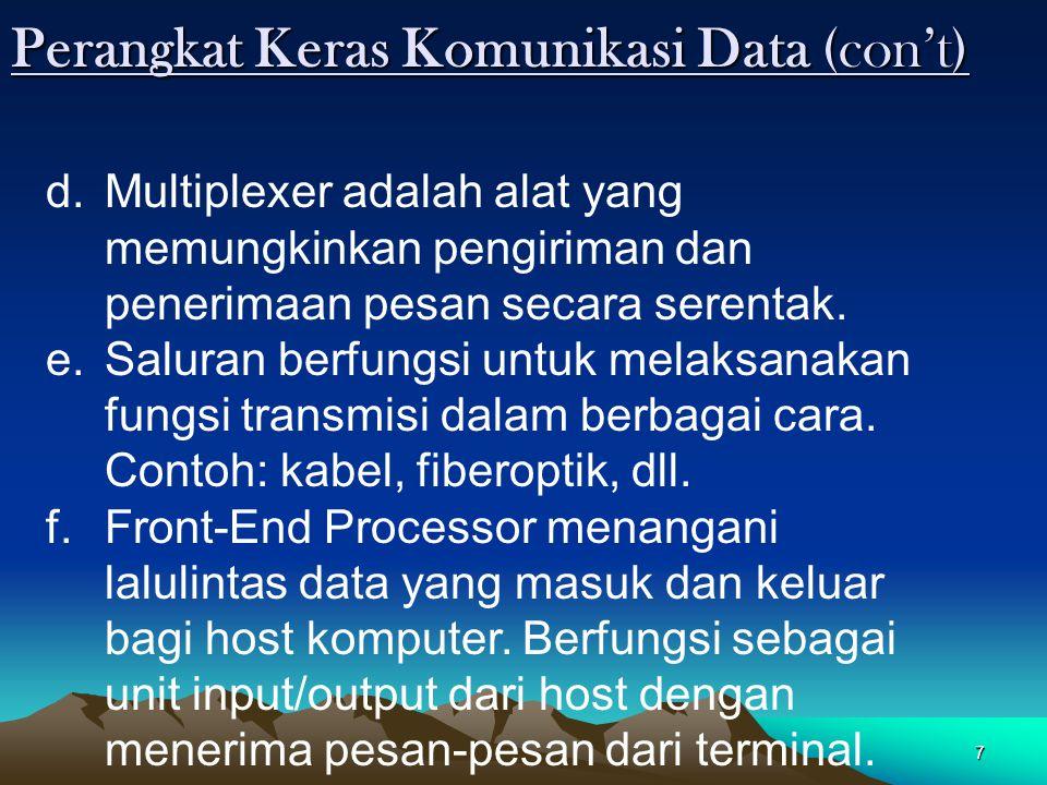 7 Perangkat Keras Komunikasi Data (con't) d.Multiplexer adalah alat yang memungkinkan pengiriman dan penerimaan pesan secara serentak. e.Saluran berfu