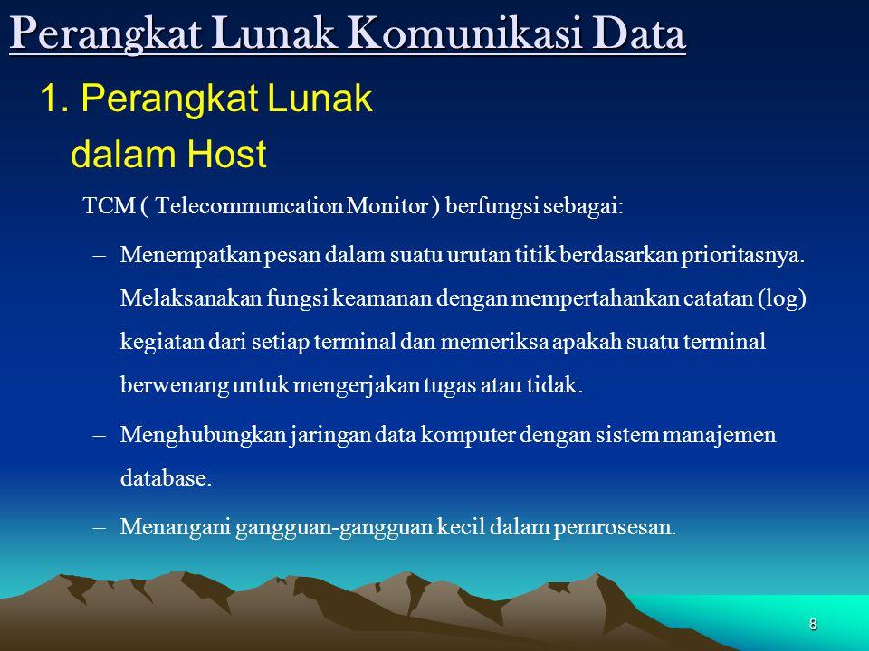 8 Perangkat Lunak Komunikasi Data 1. Perangkat Lunak dalam Host TCM ( Telecommuncation Monitor ) berfungsi sebagai: –Menempatkan pesan dalam suatu uru