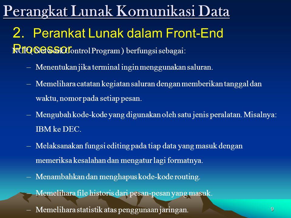 9 2. Perankat Lunak dalam Front-End Processor NCP ( Network Control Program ) berfungsi sebagai: –Menentukan jika terminal ingin menggunakan saluran.