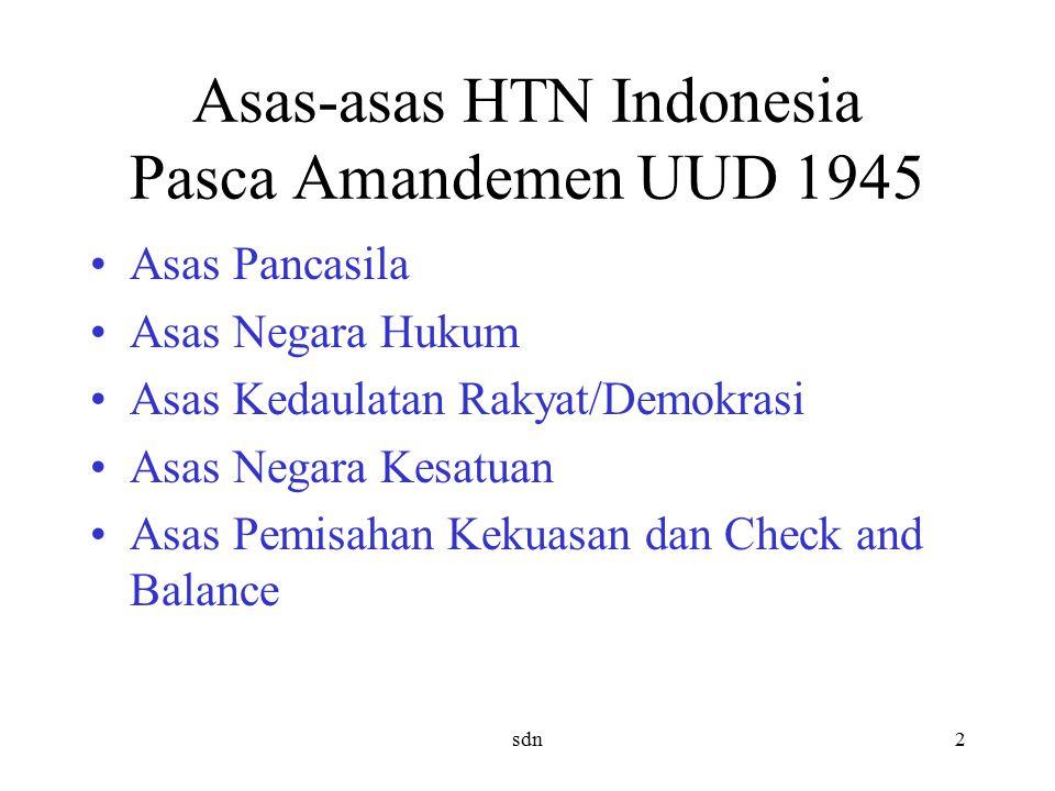 Asas-asas HTN Indonesia Pasca Amandemen UUD 1945 Asas Pancasila Asas Negara Hukum Asas Kedaulatan Rakyat/Demokrasi Asas Negara Kesatuan Asas Pemisahan