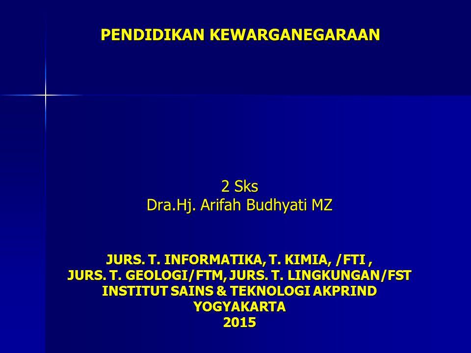 2 Sks Dra.Hj. Arifah Budhyati MZ JURS. T. INFORMATIKA, T. KIMIA, /FTI, JURS. T. GEOLOGI/FTM, JURS. T. LINGKUNGAN/FST INSTITUT SAINS & TEKNOLOGI AKPRIN