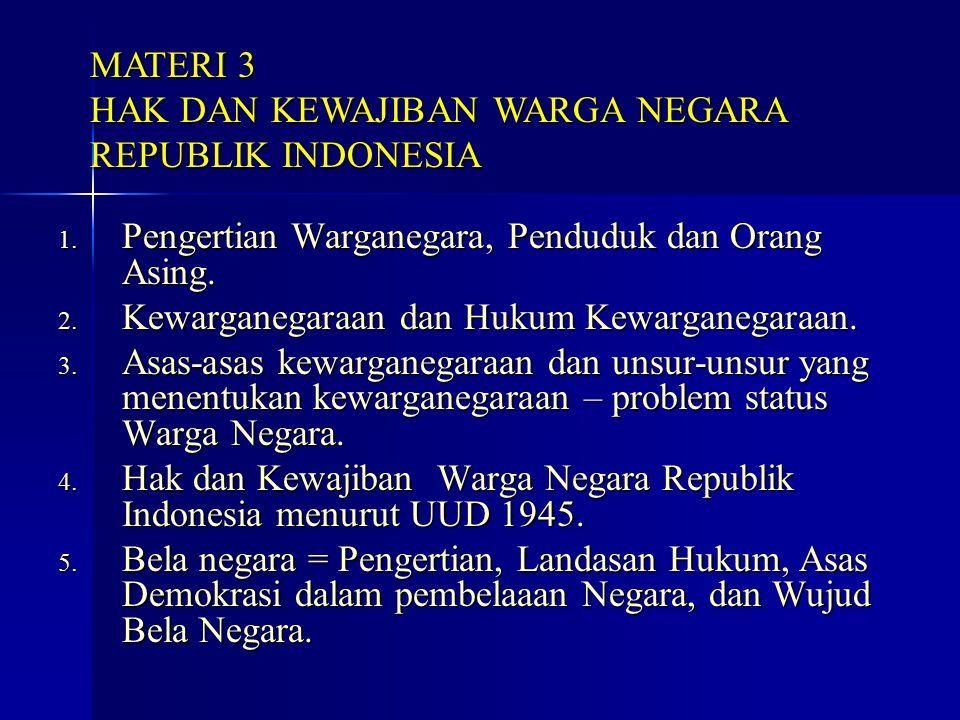 1. Pengertian Warganegara, Penduduk dan Orang Asing. 2. Kewarganegaraan dan Hukum Kewarganegaraan. 3. Asas-asas kewarganegaraan dan unsur-unsur yang m