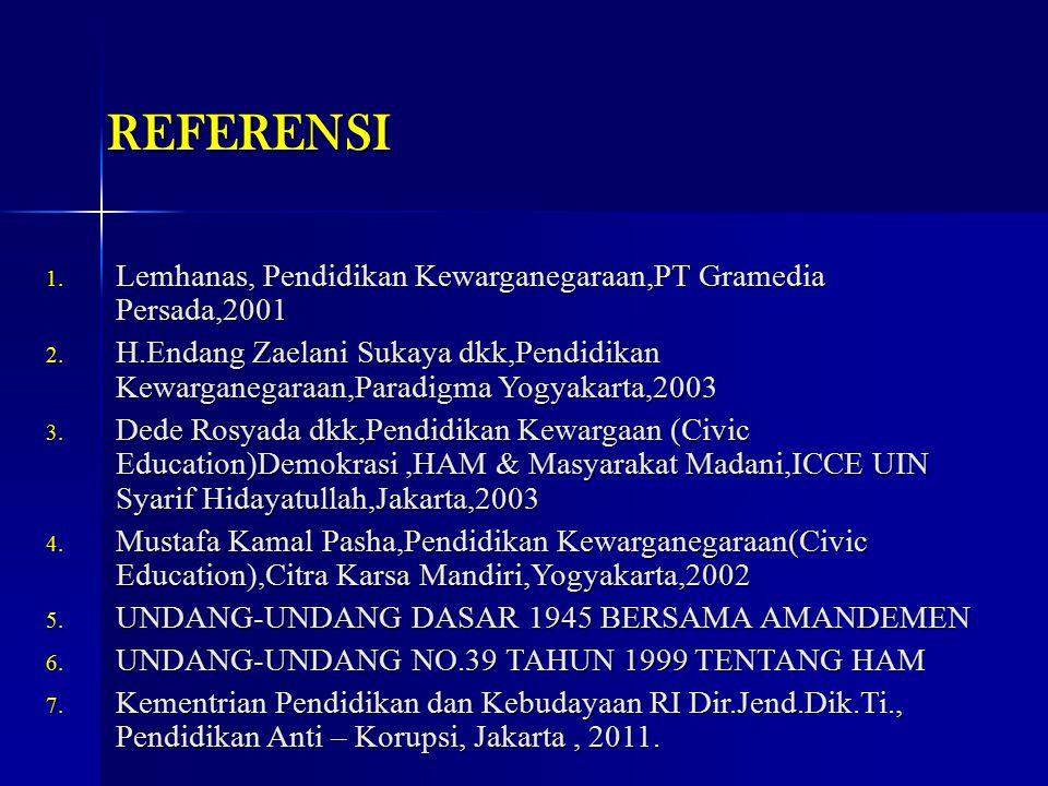 REFERENSI 1. Lemhanas, Pendidikan Kewarganegaraan,PT Gramedia Persada,2001 2. H.Endang Zaelani Sukaya dkk,Pendidikan Kewarganegaraan,Paradigma Yogyaka