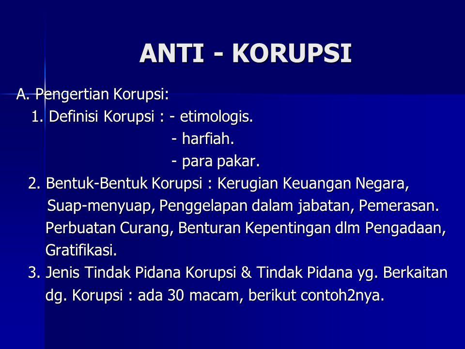ANTI - KORUPSI A. Pengertian Korupsi: 1. Definisi Korupsi : - etimologis. 1. Definisi Korupsi : - etimologis. - harfiah. - harfiah. - para pakar. - pa