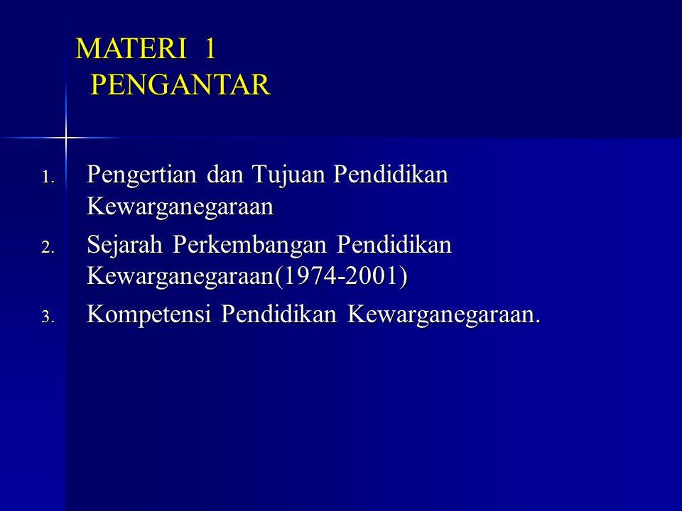 1. Pengertian dan Tujuan Pendidikan Kewarganegaraan 2. Sejarah Perkembangan Pendidikan Kewarganegaraan(1974-2001) 3. Kompetensi Pendidikan Kewarganega