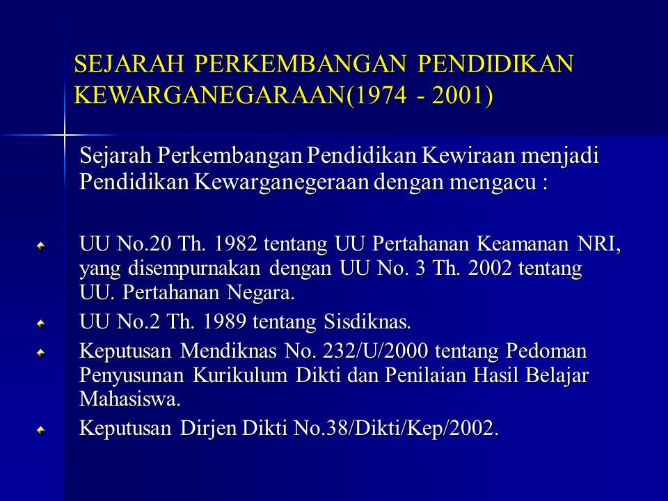 Sejarah Perkembangan Pendidikan Kewiraan menjadi Pendidikan Kewarganegeraan dengan mengacu : UU No.20 Th. 1982 tentang UU Pertahanan Keamanan NRI, yan