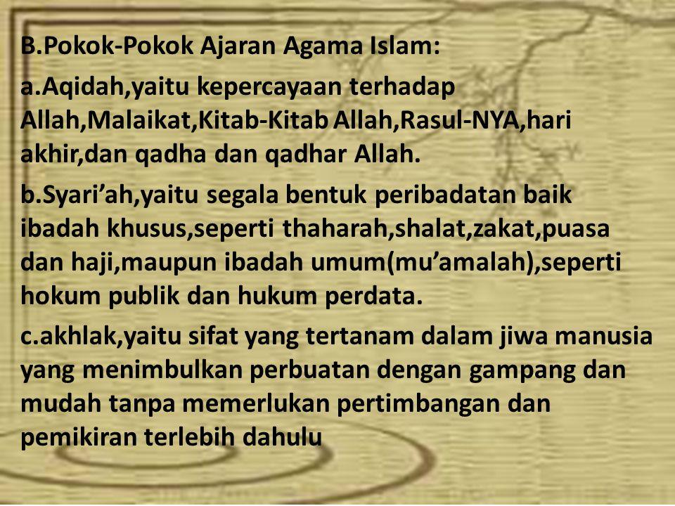 B.Pokok-Pokok Ajaran Agama Islam: a.Aqidah,yaitu kepercayaan terhadap Allah,Malaikat,Kitab-Kitab Allah,Rasul-NYA,hari akhir,dan qadha dan qadhar Allah.
