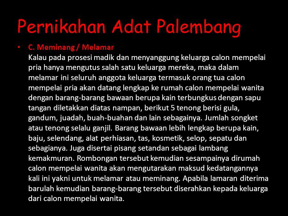 Pernikahan Adat Palembang C.