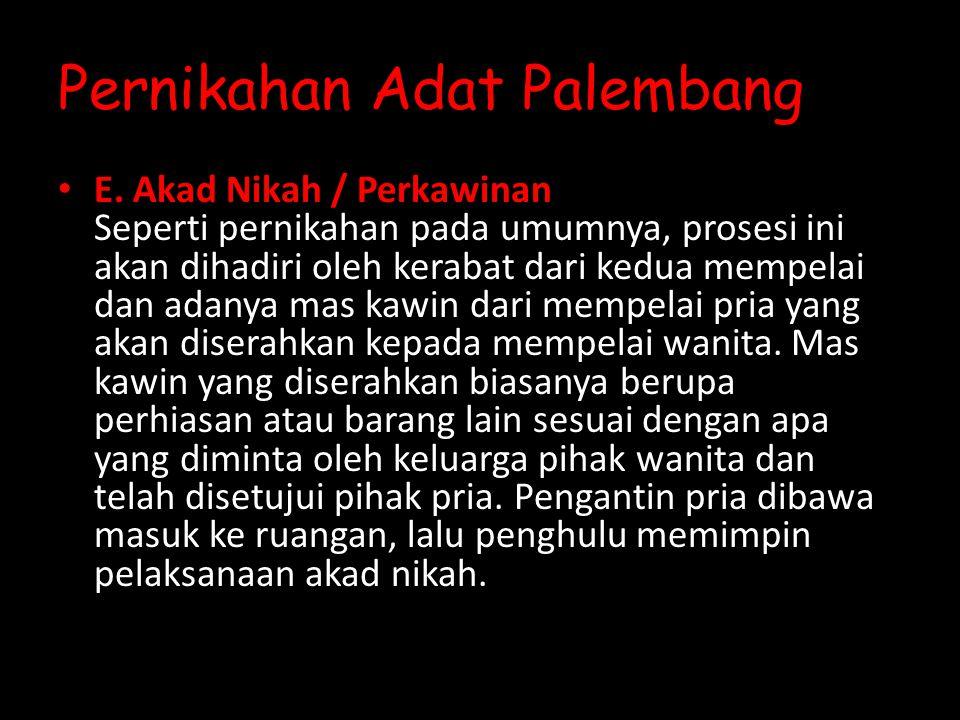 Pernikahan Adat Palembang E.