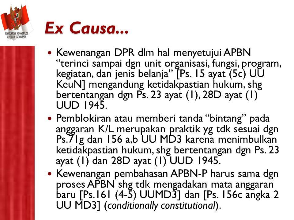 """Ex Causa... Kewenangan DPR dlm hal menyetujui APBN """"terinci sampai dgn unit organisasi, fungsi, program, kegiatan, dan jenis belanja"""" [Ps. 15 ayat (5c"""