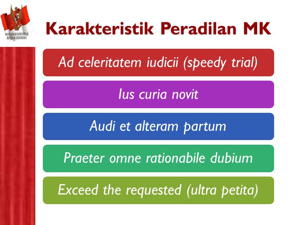 Karakteristik Peradilan MK Ad celeritatem iudicii (speedy trial)Ius curia novitAudi et alteram partumPraeter omne rationabile dubiumExceed the request