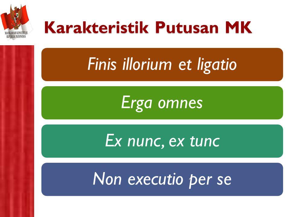 Karakteristik Putusan MK Finis illorium et ligatioErga omnesEx nunc, ex tuncNon executio per se