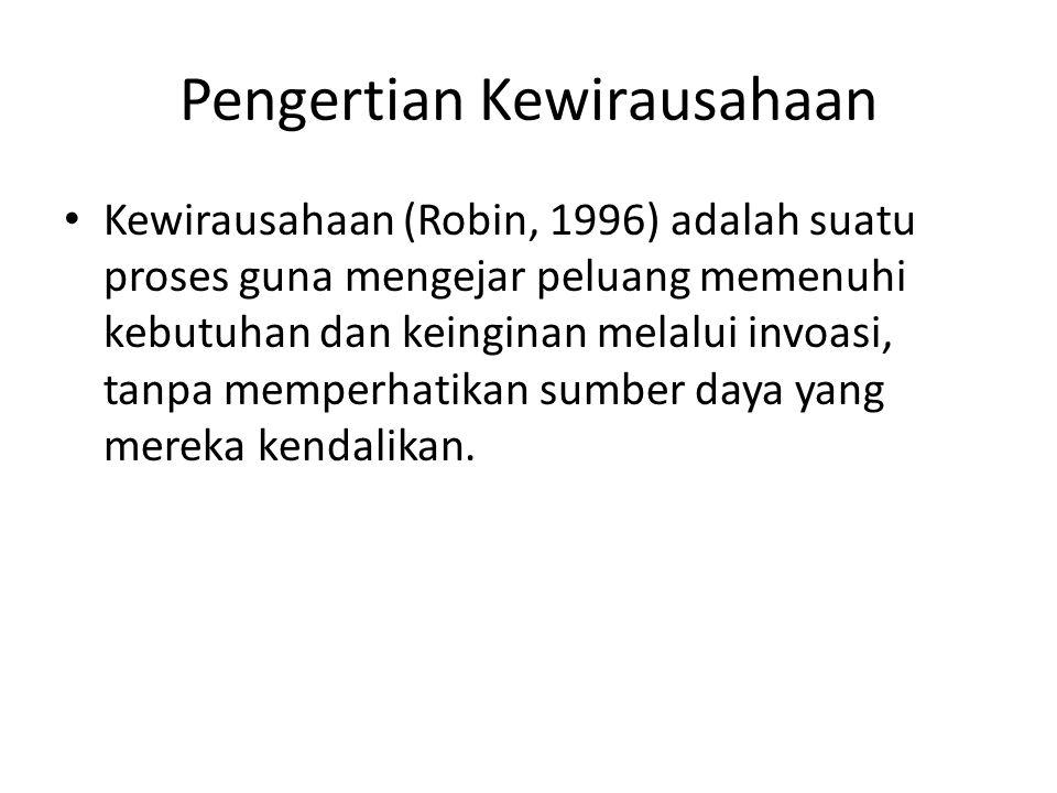 Pengertian Kewirausahaan Kewirausahaan (Robin, 1996) adalah suatu proses guna mengejar peluang memenuhi kebutuhan dan keinginan melalui invoasi, tanpa