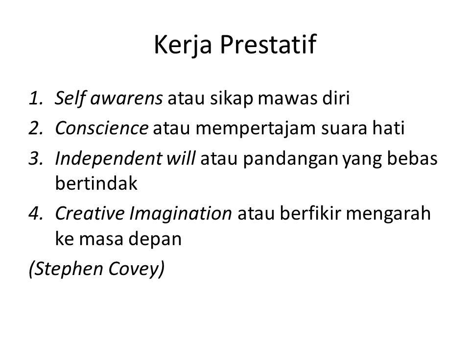 Kerja Prestatif 1.Self awarens atau sikap mawas diri 2.Conscience atau mempertajam suara hati 3.Independent will atau pandangan yang bebas bertindak 4