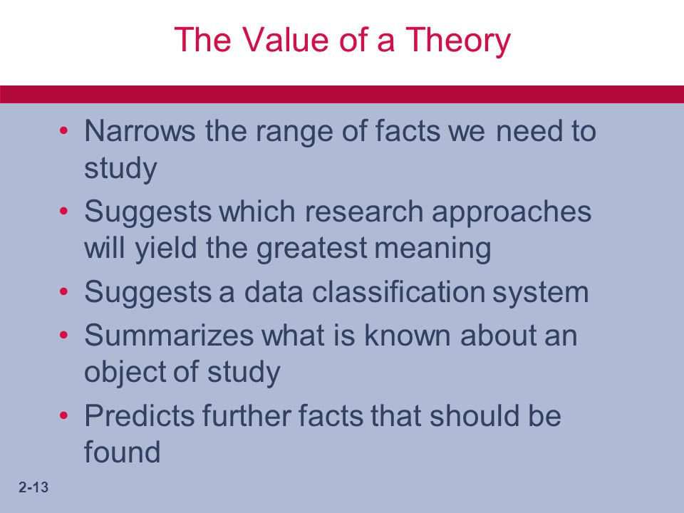 2-13 The Value of a Theory Narrows the range of facts we need to study Suggests which research approaches will yield the greatest meaning Suggests a data classification system Summarizes what is known about an object of study Predicts further facts that should be found