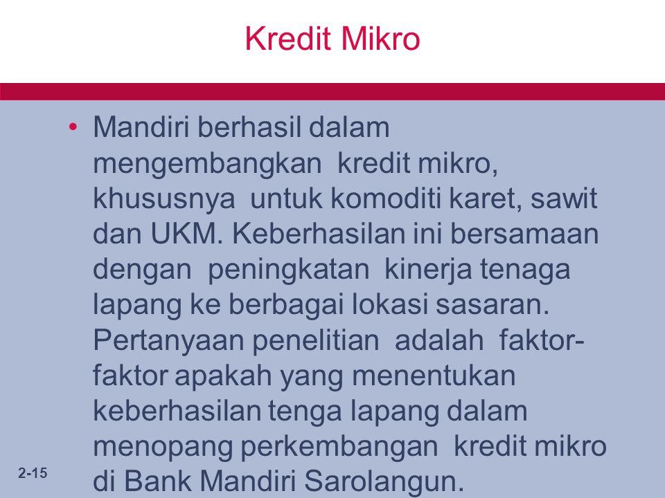 2-15 Kredit Mikro Mandiri berhasil dalam mengembangkan kredit mikro, khususnya untuk komoditi karet, sawit dan UKM.