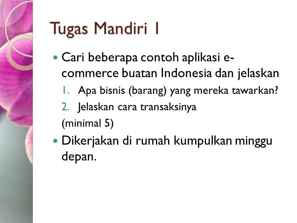 Tugas Mandiri 1 Cari beberapa contoh aplikasi e- commerce buatan Indonesia dan jelaskan 1.Apa bisnis (barang) yang mereka tawarkan? 2.Jelaskan cara tr