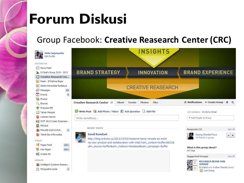 Forum Diskusi Group Facebook: Creative Reasearch Center (CRC)