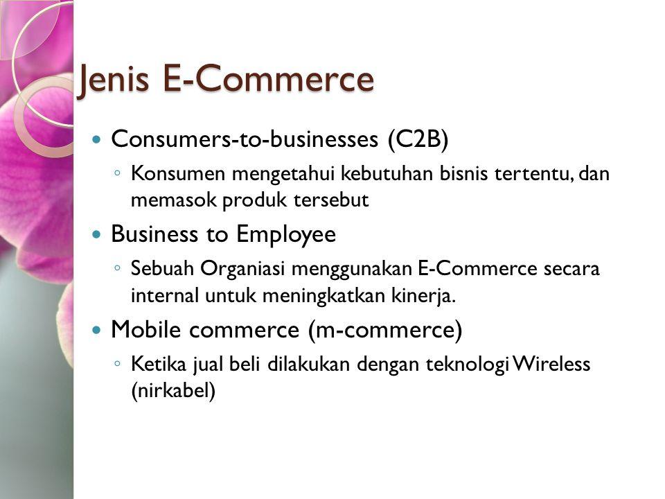 Jenis E-Commerce Consumers-to-businesses (C2B) ◦ Konsumen mengetahui kebutuhan bisnis tertentu, dan memasok produk tersebut Business to Employee ◦ Seb