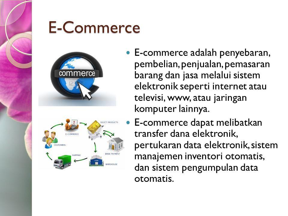 E-Commerce E-commerce adalah penyebaran, pembelian, penjualan, pemasaran barang dan jasa melalui sistem elektronik seperti internet atau televisi, www