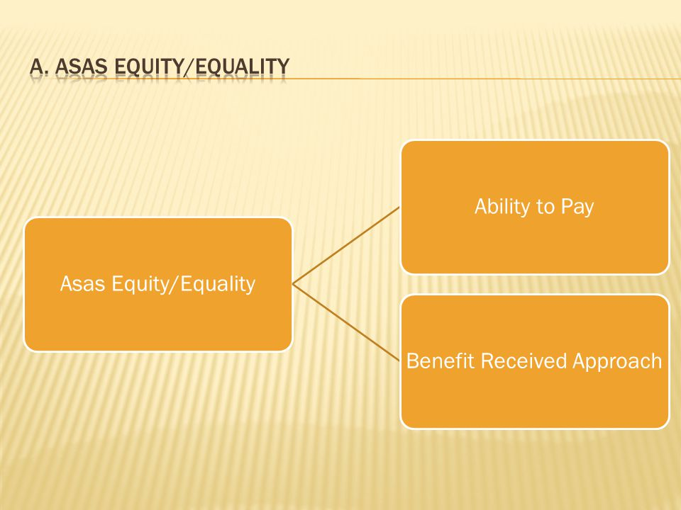 Asas Equity/EqualityAbility to PayBenefit Received Approach