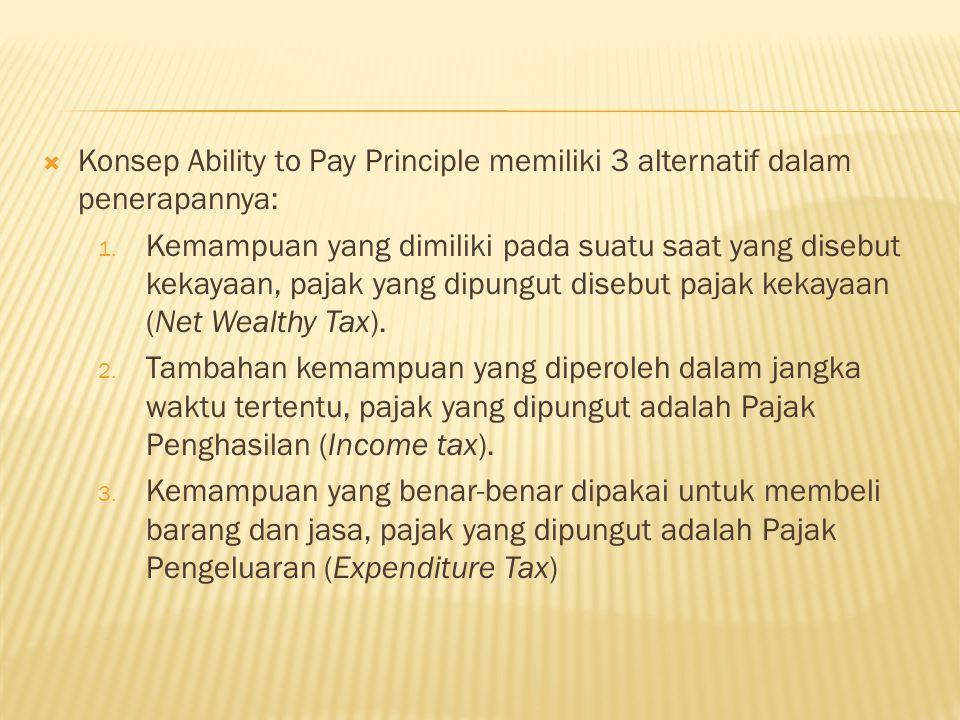  Konsep Ability to Pay Principle memiliki 3 alternatif dalam penerapannya: 1.
