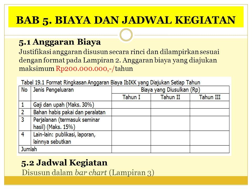 BAB 5. BIAYA DAN JADWAL KEGIATAN 5.1 Anggaran Biaya 5.2 Jadwal Kegiatan Disusun dalam bar chart (Lampiran 3) Justifikasi anggaran disusun secara rinci