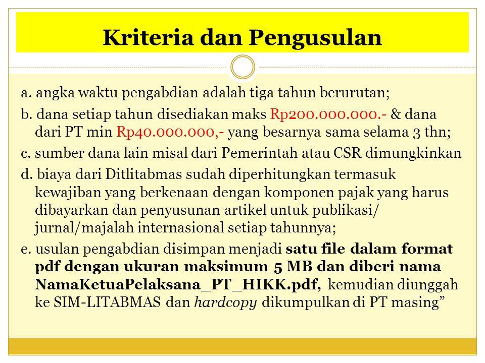 Kriteria dan Pengusulan a. angka waktu pengabdian adalah tiga tahun berurutan; b. dana setiap tahun disediakan maks Rp200.000.000.- & dana dari PT min