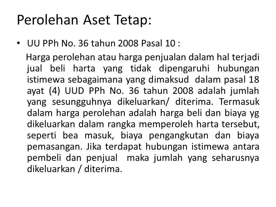 Perolehan Aset Tetap: UU PPh No.