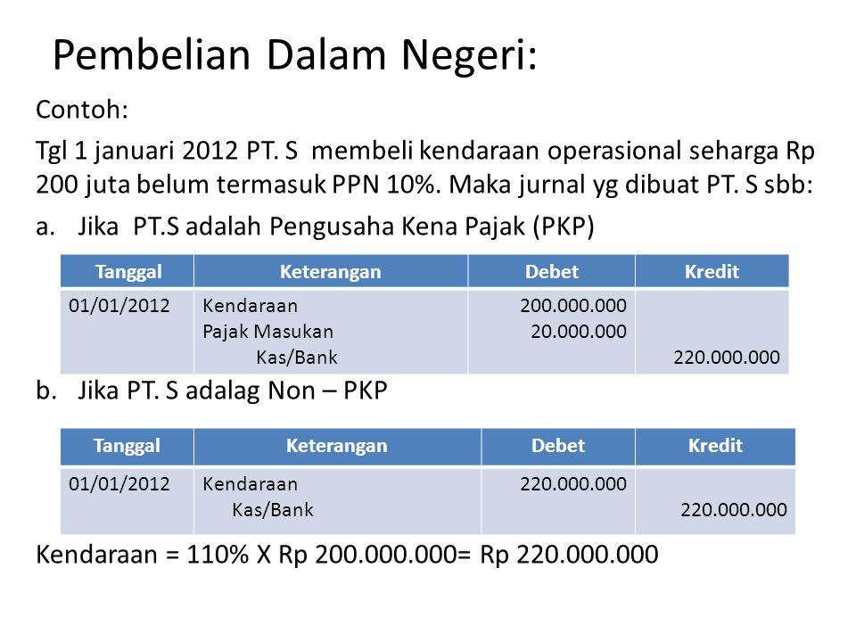 Pembelian Dalam Negeri: Contoh: Tgl 1 januari 2012 PT.