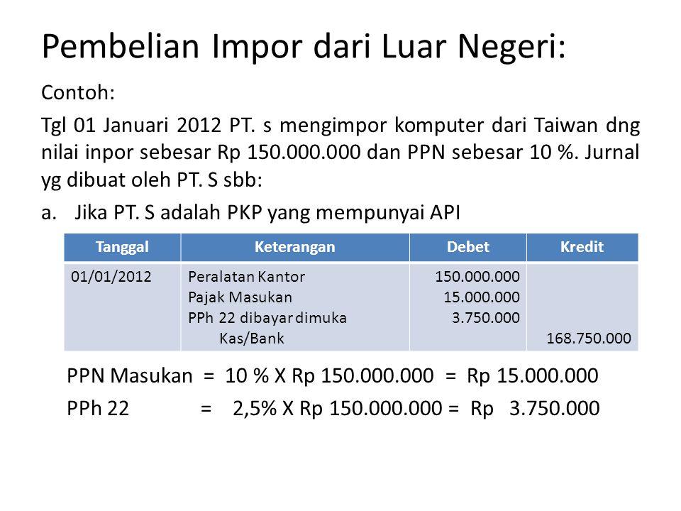 Pembelian Impor dari Luar Negeri: Contoh: Tgl 01 Januari 2012 PT.