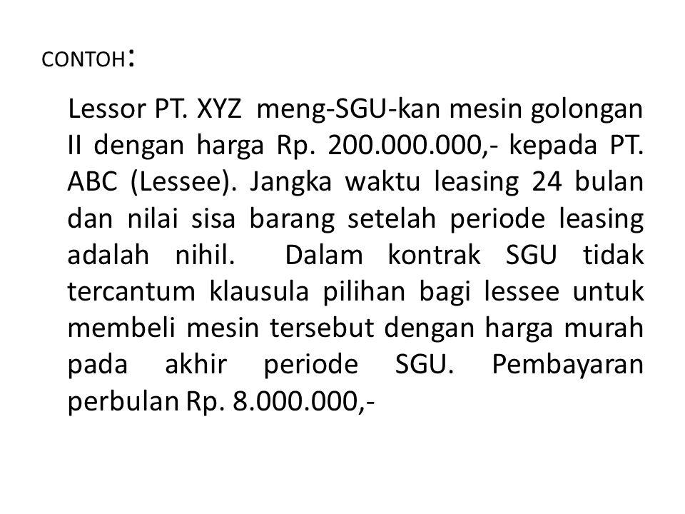 CONTOH : Lessor PT.XYZ meng-SGU-kan mesin golongan II dengan harga Rp.